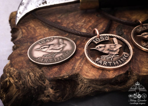 Hand cut Jenny Wren Farthing coin pendant necklace made in the Hg workshop