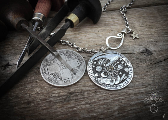 handmade and upcycled silver coin all is mind necklace pendant