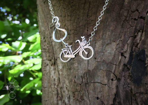 Handmade and upcycled sterling silver beautiful dutch bike necklace