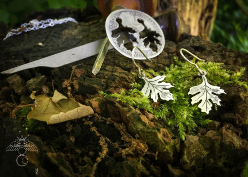 handmade and upcycled coin Hawthorn leaves leaf earrings
